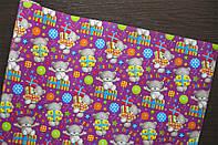 Крафт-бумага подарочная Мишки на сиреневом фоне 10 м/рулон