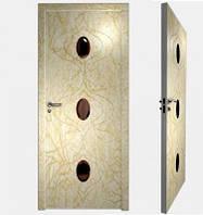 """Межкомнатная дверь """"Эксклюзив"""" сочетание декоративных пвх покрытий и фацетированных стеклянных элементов"""