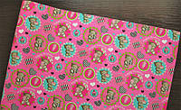 Крафт-бумага подарочная Мишки на светлом розовом фоне 10 м/рулон