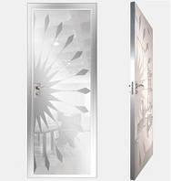 """Межкомнатная дверь """"Моноколор белый"""" из стёкол, покрытых краской лакобель с зеркальными свойствами"""