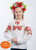 Сказочная детская вышиванка на девочку  Белый, Хлопок+Лен, Длинный, 110