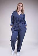 Женский батальный джинсовый комбинезон с карманами на пуговицах