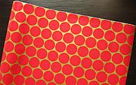 Крафт-бумага подарочная Красные круги на золоте 10 м/рулон