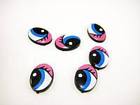 Глазки сине-розовые 15мм с ресницами