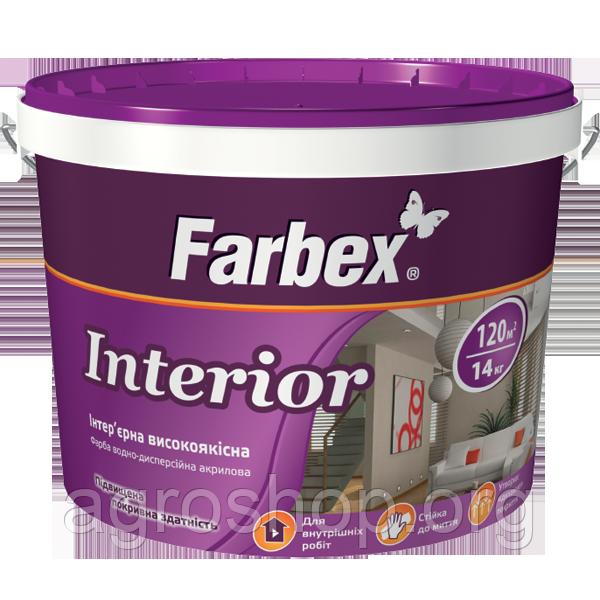 """Краска интерьерная высококачественная """"Interior"""" ТМ """"Farbex""""7кг"""