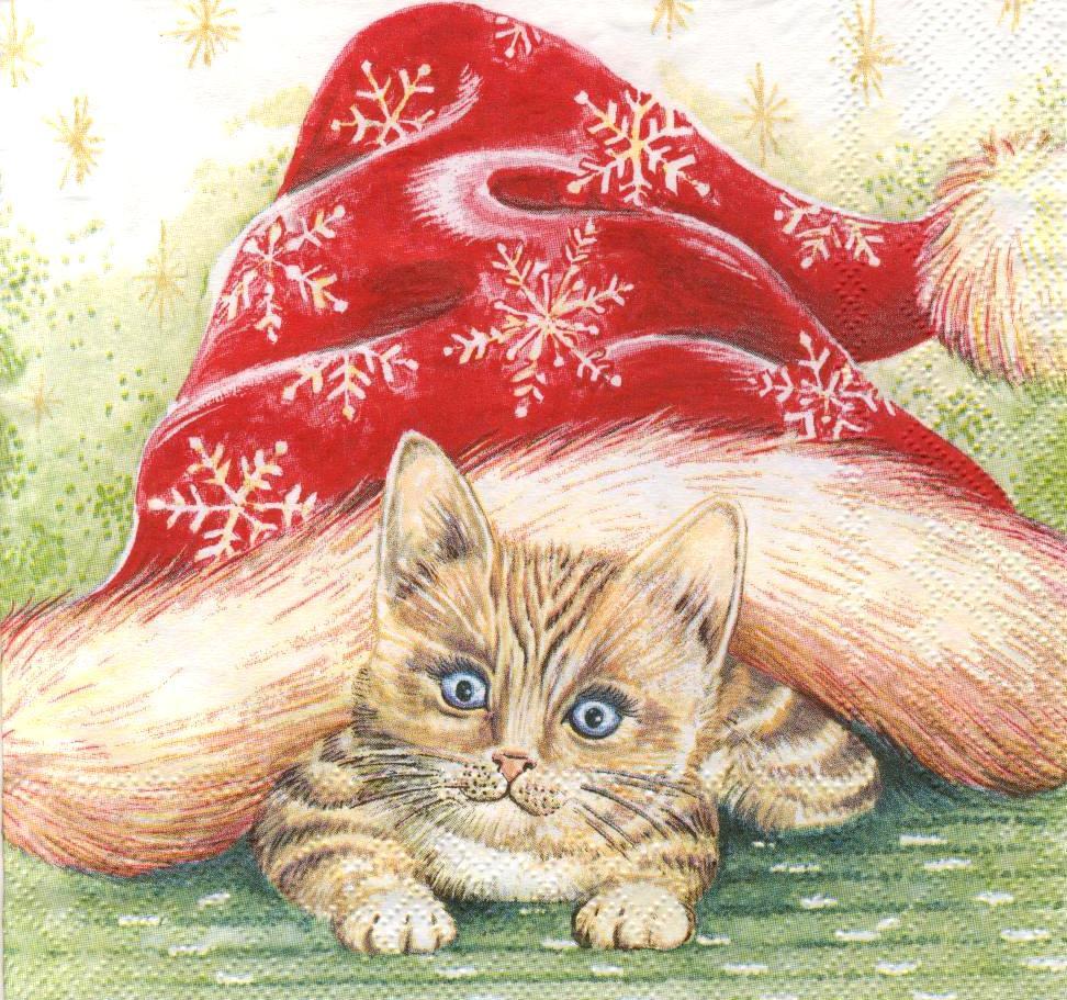 Декупажные салфетки Новогодний кот 798