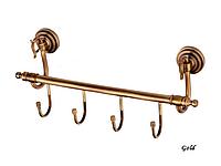Вешалка для ванной KUGU Versace 210-4G (латунь, золото)(Бесплатная доставка Новой почтой)
