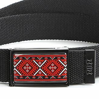 Ремень ткань ZIZ Украинская вышиванка черный, фото 2
