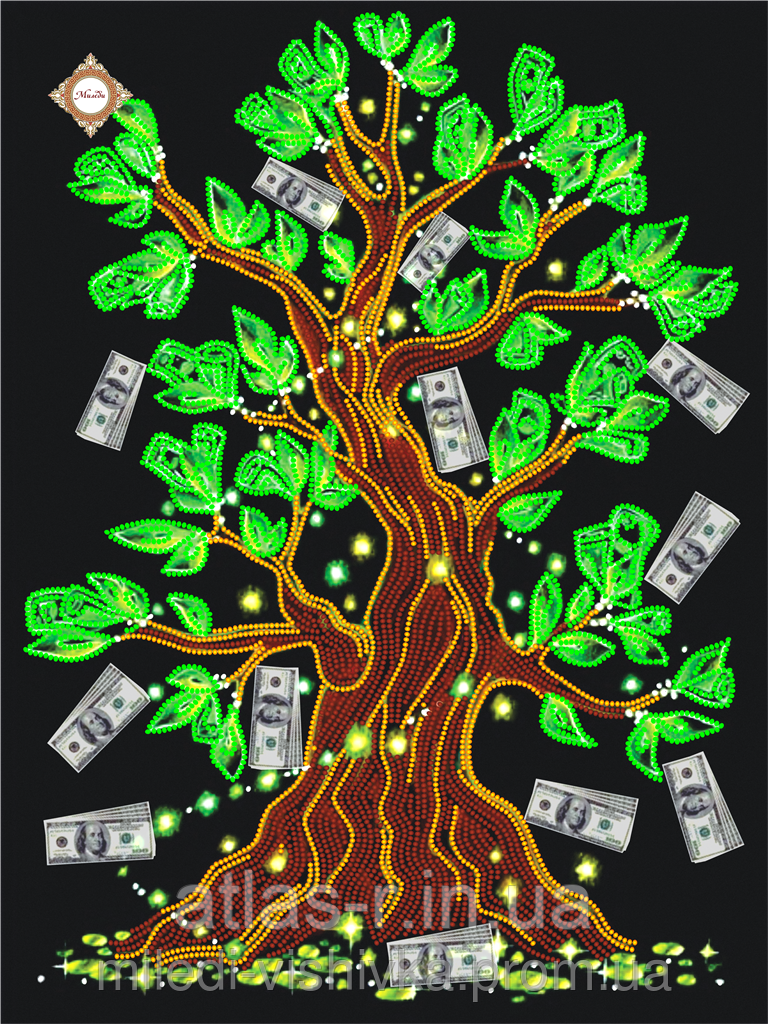 """Схема для вышивки бисером """"Дерево достатка"""""""