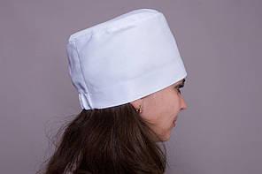 Медицинская женская шапка белого цвета, коттон, на резинке