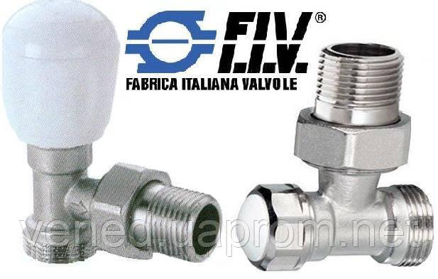 Вентиль+отсекатель для радиатора угловой FIV DN15