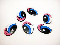 Глазки сине-розовые 20мм с ресницами