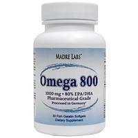 Рыбий жир Омега-3 для сердца Omega 800 Madre Labs, 1000 мг, 30 капсул