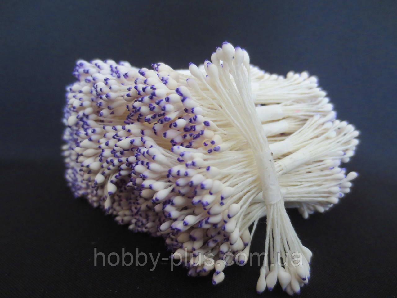 Тайские тычинки, ФИОЛЕТОВО-БЕЛЫЕ, каплевидные на белой нити,  23-25 нитей, 50 головок