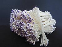 Тайские тычинки, ФИОЛЕТОВО-БЕЛЫЕ, каплевидные на белой нити,  23-25 нитей, 50 головок, фото 1
