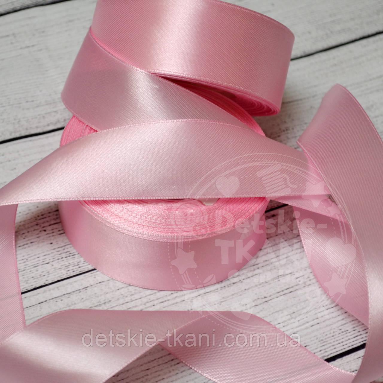 Лента сатиновая розовая шириной 30 мм