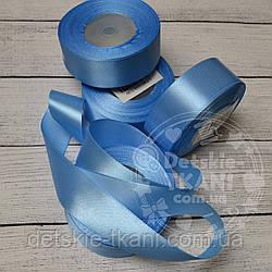 Лента сатиновая шириной 30 мм тёмно-голубая
