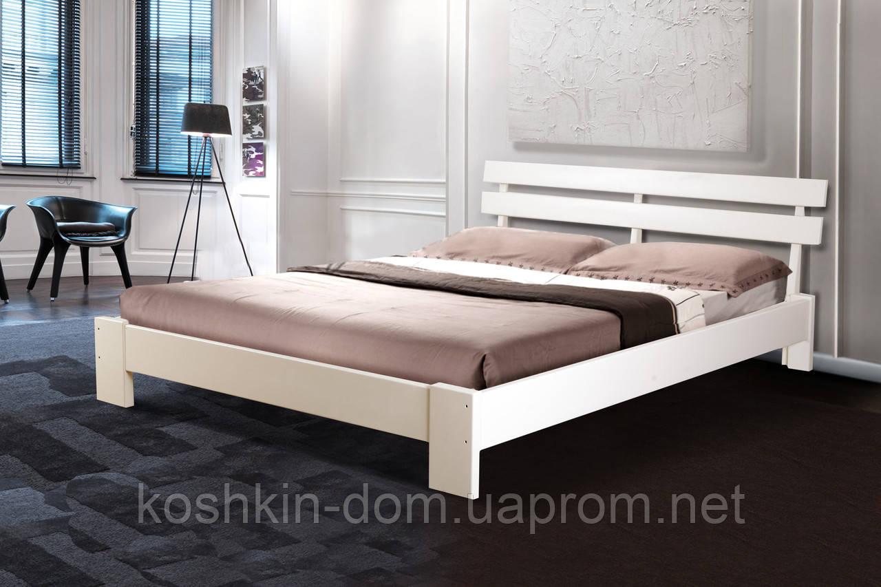 Ліжко двоспальне Емма білий 160*200 масив вільхи