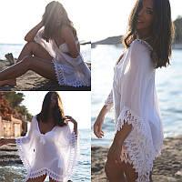 Женская легкая платье туника парео, белая