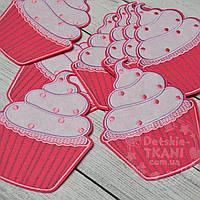 """Вышивка аппликация клеевая """"Большой десерт"""" розовый, высотой 15 см"""