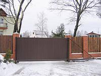 Ворота откатные с профнастилом 5.0 м*2.0 м