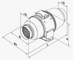 Габариты (размеры) канального вентилятора Вентс ТТ Сайлент-М 200
