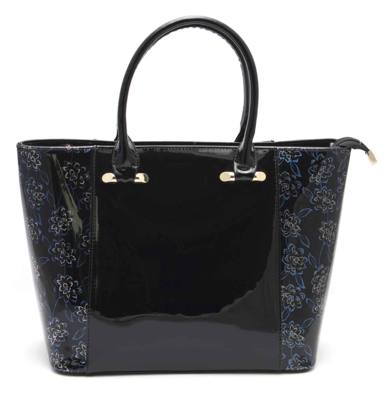 Модная лаковая черная женская сумка c красивыми вставками Б/Н art. 9304
