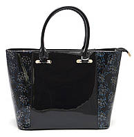 Модная лаковая черная женская сумка c красивыми вставками Б/Н art. 9304, фото 1