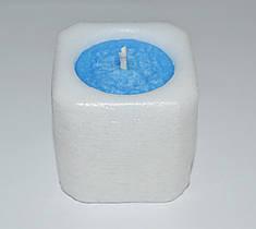 Свеча куб бело-голубой 47 х 47 мм