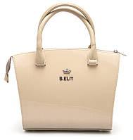 Стильная лаковая бежевая сумка хамелеон B.Elit Б/Н art. 06-06