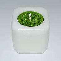 Свеча куб бело-зеленый 47 х 47 мм, фото 1