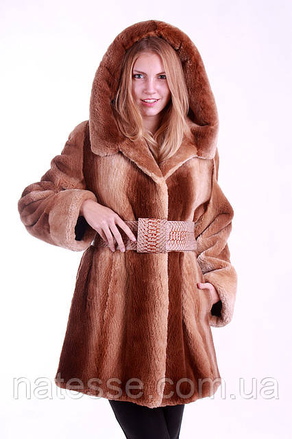 "Шуба полушубок из бобра цвета ""Сахара""  Hooded beaver fur coat fur-coat, flared silhouette"