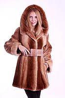 """Шуба полушубок из бобра цвета """"Сахара""""  Hooded beaver fur coat fur-coat, flared silhouette, фото 1"""