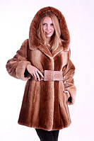 "Шуба полушубок из бобра цвета ""Сахара""  Hooded beaver fur coat fur-coat, flared silhouette, фото 1"