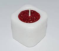 Свеча фигурная куб бело-красный 47 х 47 мм