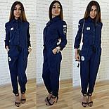 Женский стильный джинсовый комбез с нашивками , фото 2