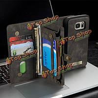 CaseMe съемный функциональный случай крышки PU молния бумажник карта для Samsung Galaxy S7