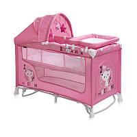 Манеж-кровать  Bertoni NANNY 2L+ ROCKER (pink kitten)