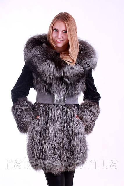 Шуба кожушок з чорнобурки та мутона з капюшоном, Silverfox and mouton fur coat with big hood