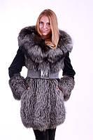 Шуба полушубок из чернобурки и мутона с капюшоном, Silverfox and mouton fur coat with big hood