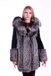 Шуба кожушок з чорнобурки та мутона з капюшоном, Silverfox and mouton fur coat with big hood, фото 2