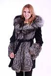 Шуба кожушок з чорнобурки та мутона з капюшоном, Silverfox and mouton fur coat with big hood, фото 3