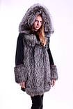 Шуба кожушок з чорнобурки та мутона з капюшоном, Silverfox and mouton fur coat with big hood, фото 4