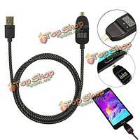 1.2m ток Smart напряжение LED данные синхронизации дисплей Micro-USB кабель быстрой зарядки, фото 1