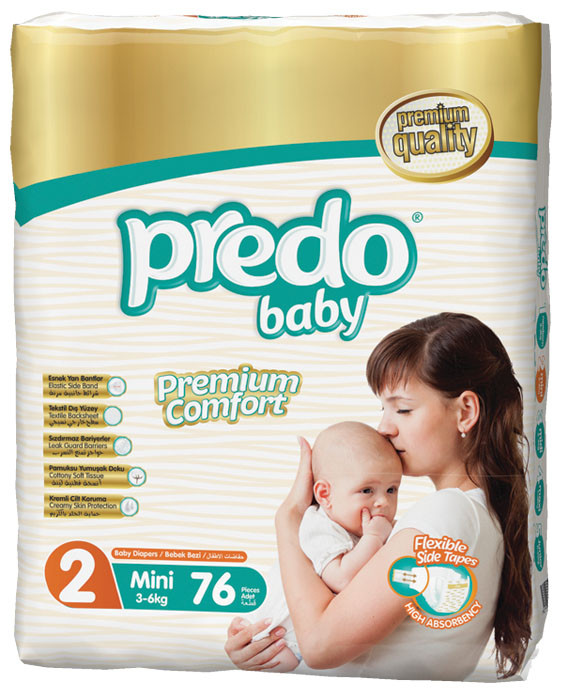 Подгузники детские PREDO BABY Mini 2 (3-6 кг.) Jumbo 76 шт