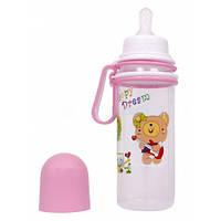 Детская бутылочка для кормления с передвижными ручками Бусинка, пластиковая 250мл, 1108