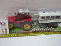 Детский игрушечный Трактор инерционный Фермер с прицепом, ABC1-B3
