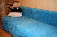 Покрывало травка 220*240 плед (искусственный мех) голубое, фото 1