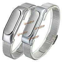 Регулируемые металл серебро замена браслет браслет для Xiaomi mi band 1с