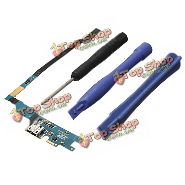 USB порт зарядки гибкий кабель с микрофоном + инструменты для ремонта Samsung Galaxy S4 i9505 rev19